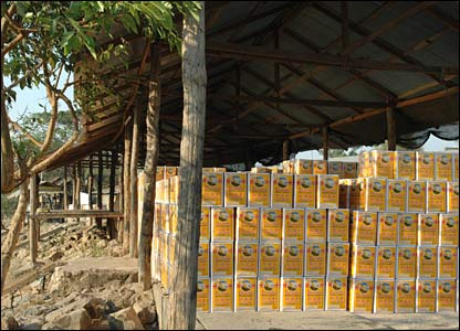 Cartons of vegetable oil waiting to go to Burma