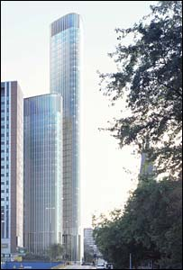 The plan for the towers (pic: GVA Grimley / Glenn Howells Architects on behalf of Ballymore Properties Limited.)