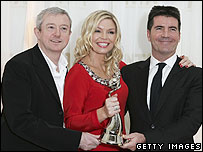 Louis Walsh, Kate Thornton and Simon Cowell