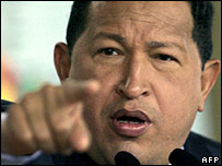 Hugo Chavez at a press conference in Feb 2007