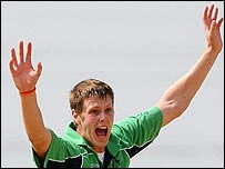 Irish seam bowler Boyd Rankin celebrates a key wicket