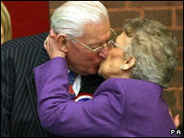 DUP leader Ian Paisley is congratulated by his wife Eileen