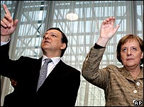 European Commission President Jose Manuel Barroso and German Chancellor Angela Merkel  at an EU summit in Brussels
