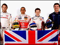 British quartet (l to r) Jenson Button, Lewis Hamilton, Anthony Davidson and David Coulthard