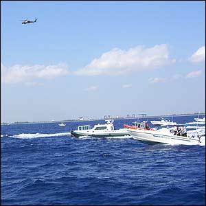 Embarcaciones y helicóptero en el simulacro realizado en las costas de Miami  (Foto:J. Aparisi)