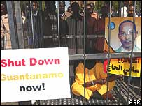 Khartoum                            protest for a Sudanese national held at Guantanamo Bay.