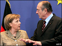 Angela Merkel and Jacques Chirac
