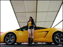 Chinese model poses with Lamborghini
