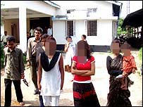 Assam girls outside police station