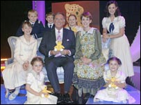 Sir Terry Wogan with some of the cast of Children in Need