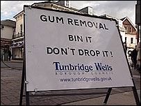 Gum removal sign