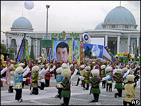 A poster of the late President Niyazov at independence celebrations in October 2006