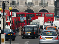 Buses in a congested London street