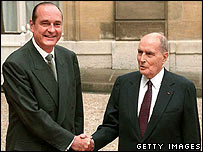 Francois Mitterrand (right) hands over to Jacques Chirac in 1995