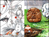 Details from Gerald Scarfe and Steve Bell's cartoons