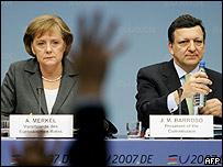Angela Merkel y José Barroso.