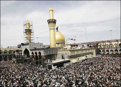 Thousands of Shia Muslims pray at a mosque in Karbala on 9 March