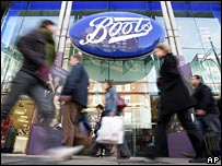 Shoppers outside Boots
