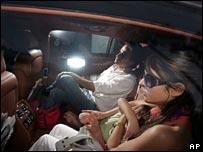 In their car