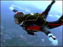 Man skydiving