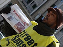 Martin Walker, a homeless man, sells Street Sense in Washington, DC, March 8, 2007