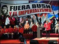 Hugo Chavez speaking in Buenos Aires