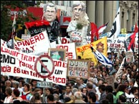 Protesters in Montevideo, Uruguay