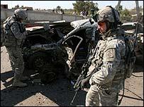 Car bomb wreckage in Baghdad