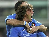 Mauro Bergamasco celebrates his winning try for Italy