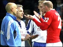 Wales' Gareth Thomas pleads with referee Chris White at the final whistle