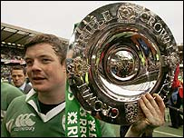Ireland's captain Brian O'Driscoll celebrates