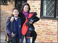 T.Wood and his mother on the first day of school - picture courtesy of Gerald Pontet