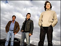 Top Gear hosts (left-right): Jeremy Clarkson, Richard Hammond and James May
