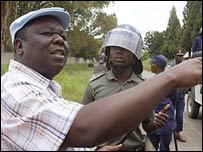 Zimbabwe opposition leader Morgan Tsvangirai at a rally in February