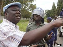 Zimbabwe opposition leader Morgan Tsvangirai at a rally in February