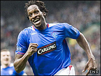 Ugo Ehiogu celebrates his goal at Celtic Park
