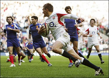 Toby Flood scores a try for England