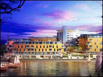 Artist's impression of Harbour Square development in Swansea's SAI
