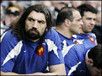 France number eight Sebastien Chabal looks glum after being taken off early in the second half on Sunday