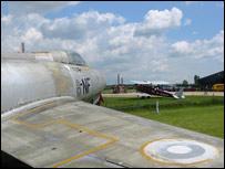 A Sabre aircraft, a museum exhibit at Headcorn Aerodrome