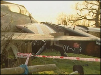 Scene of the crash at Headcorn Aerodrome