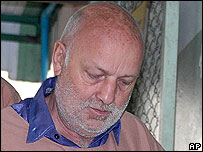 Oliver Jufer arrives at court in Chiang Mai, Thailand, on 12 March 2007