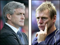 Blackburn boss Mark Hughes and Man City manager Stuart Pearce