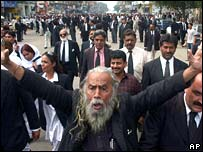 Lawyers march in Karachi on 12 March