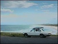 Dr Dunstan's car at the beach
