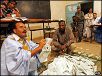 Vote counting in Nouakchott, Mauritania