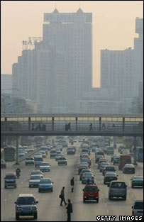 Smog-filled street in China. Image: Getty