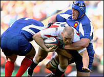 Mike Tindall in action against France