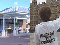 Eastbourne District General Hospital and a 'Hands off the Conquest' T-shirt