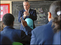 Huw Edwards at school report day